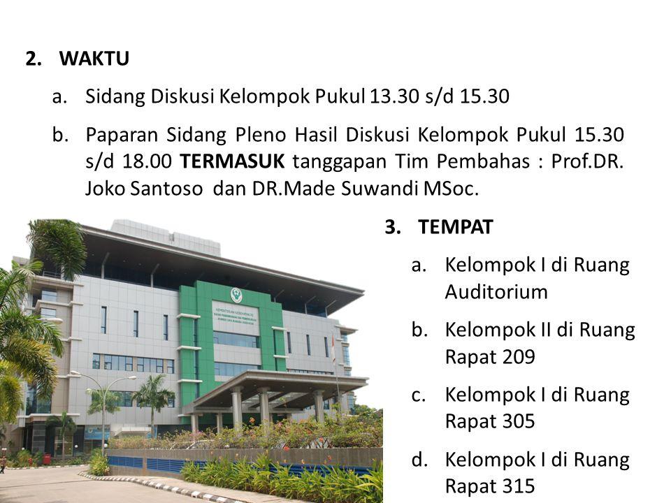 2.WAKTU a.Sidang Diskusi Kelompok Pukul 13.30 s/d 15.30 b.Paparan Sidang Pleno Hasil Diskusi Kelompok Pukul 15.30 s/d 18.00 TERMASUK tanggapan Tim Pem