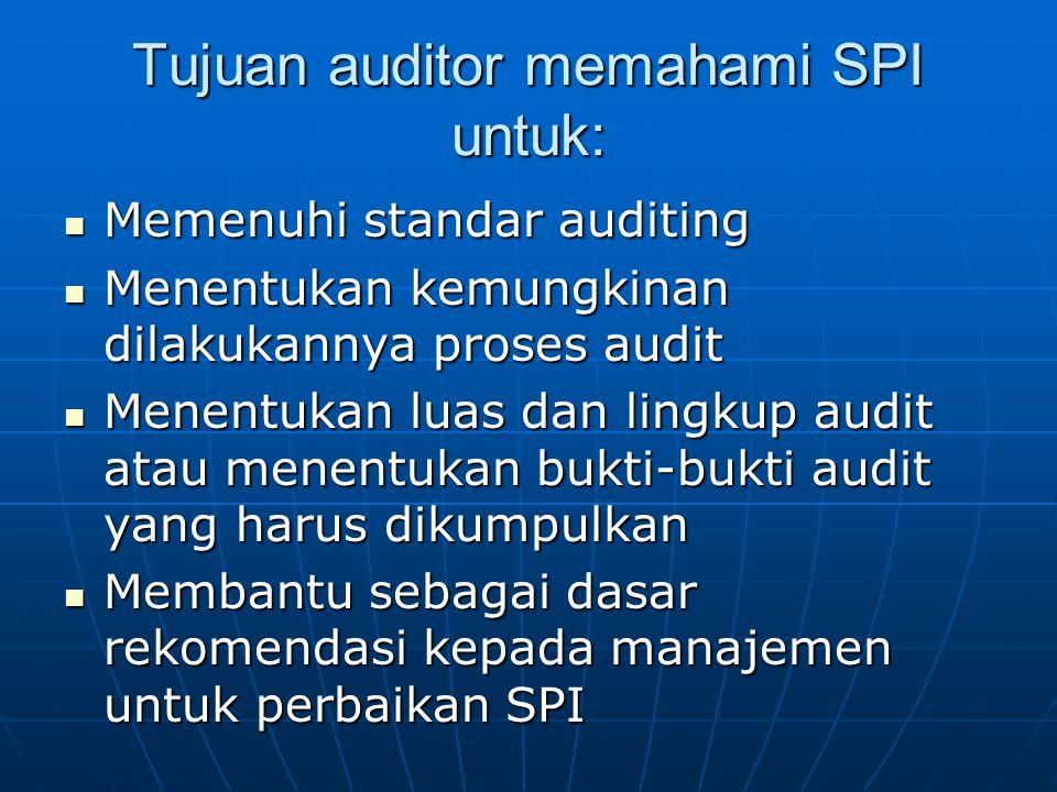 Tujuan auditor memahami SPI untuk: Memenuhi standar auditing Memenuhi standar auditing Menentukan kemungkinan dilakukannya proses audit Menentukan kem
