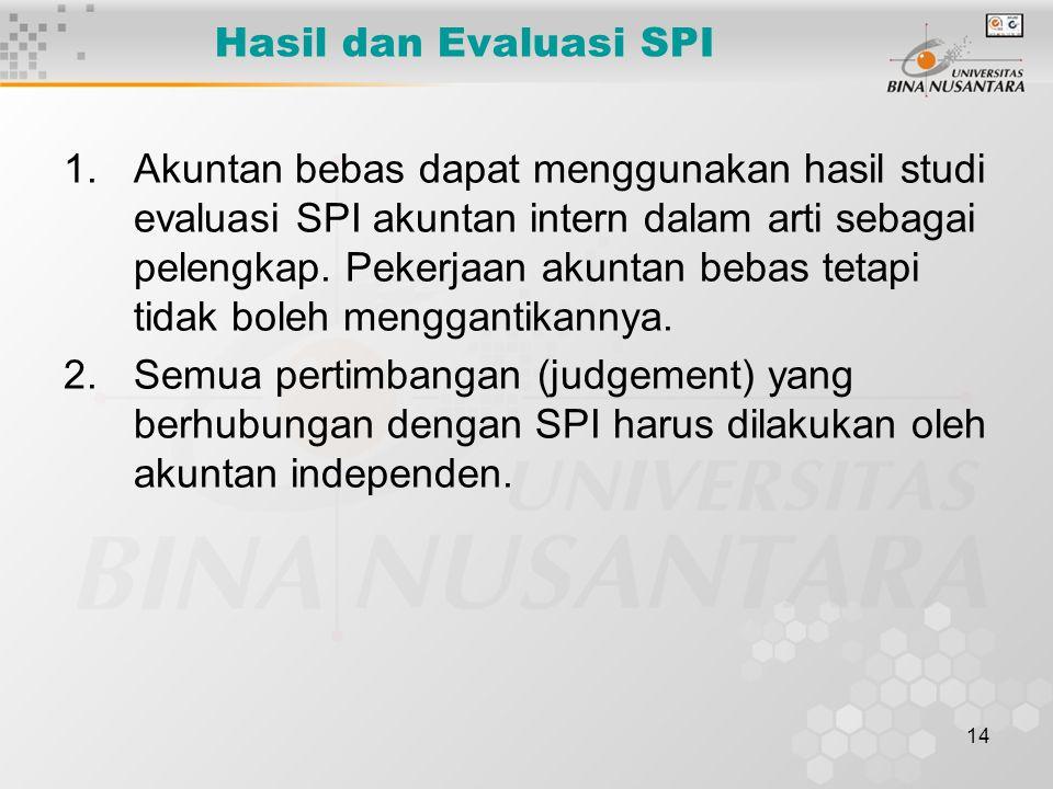14 Hasil dan Evaluasi SPI 1.Akuntan bebas dapat menggunakan hasil studi evaluasi SPI akuntan intern dalam arti sebagai pelengkap. Pekerjaan akuntan be