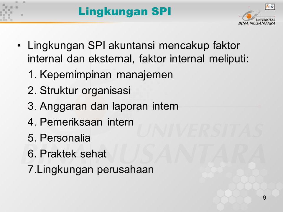 9 Lingkungan SPI Lingkungan SPI akuntansi mencakup faktor internal dan eksternal, faktor internal meliputi: 1. Kepemimpinan manajemen 2. Struktur orga