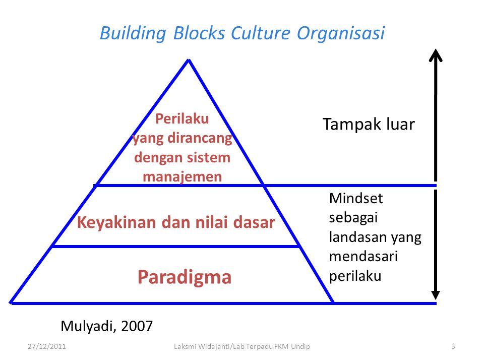 Building Blocks Culture Organisasi Paradigma Keyakinan dan nilai dasar Perilaku yang dirancang dengan sistem manajemen Tampak luar Mindset sebagai lan