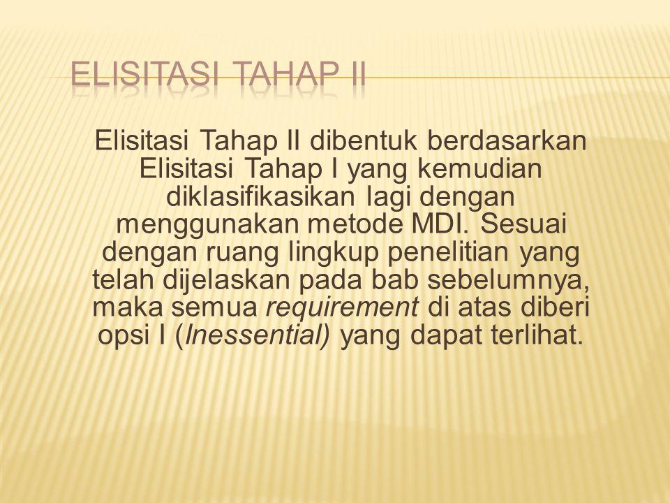 Elisitasi Tahap II dibentuk berdasarkan Elisitasi Tahap I yang kemudian diklasifikasikan lagi dengan menggunakan metode MDI. Sesuai dengan ruang lingk