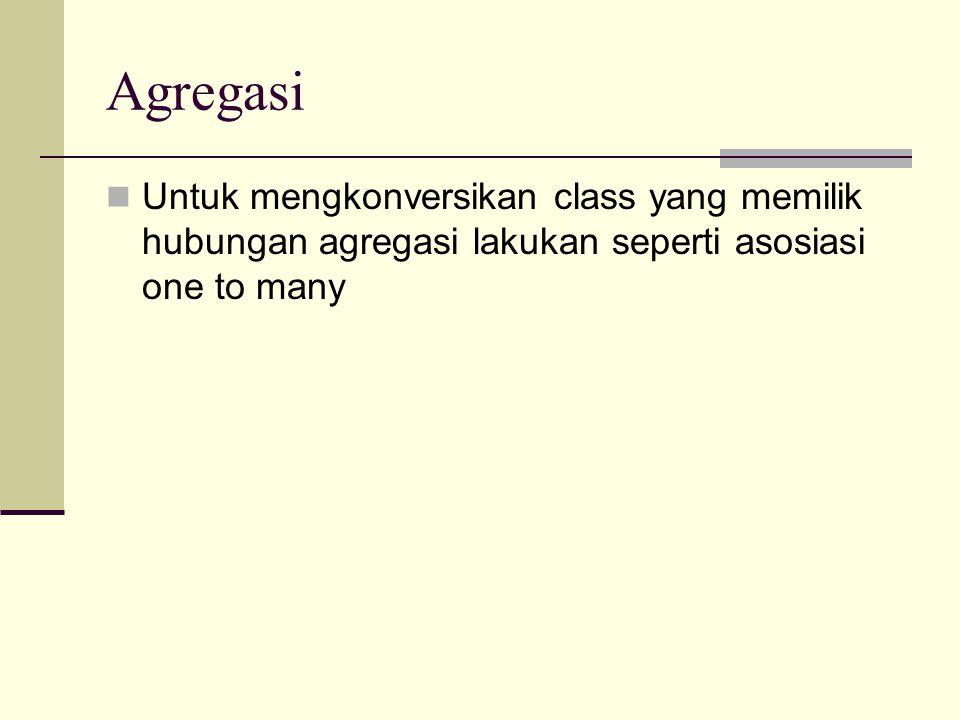 Agregasi Untuk mengkonversikan class yang memilik hubungan agregasi lakukan seperti asosiasi one to many