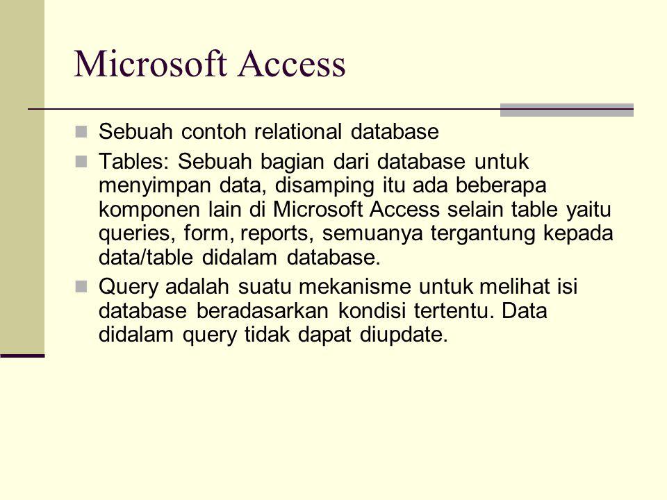 Microsoft Access Sebuah contoh relational database Tables: Sebuah bagian dari database untuk menyimpan data, disamping itu ada beberapa komponen lain di Microsoft Access selain table yaitu queries, form, reports, semuanya tergantung kepada data/table didalam database.