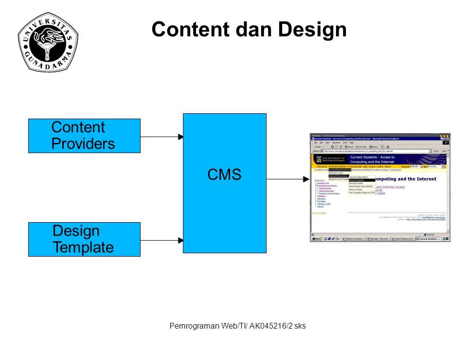 Pemrograman Web/TI/ AK045216/2 sks Content dan Design Content Providers Design Template CMS