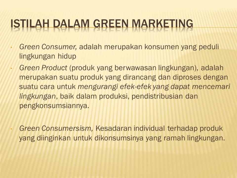 Green Consumer, adalah merupakan konsumen yang peduli lingkungan hidup Green Product (produk yang berwawasan lingkungan), adalah merupakan suatu produk yang dirancang dan diproses dengan suatu cara untuk mengurangi efek-efek yang dapat mencemari lingkungan, baik dalam produksi, pendistribusian dan pengkonsumsiannya.