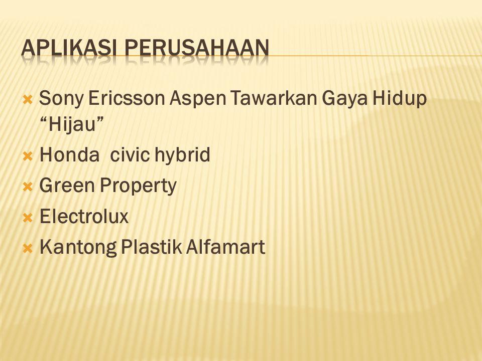  Sony Ericsson Aspen Tawarkan Gaya Hidup Hijau  Honda civic hybrid  Green Property  Electrolux  Kantong Plastik Alfamart