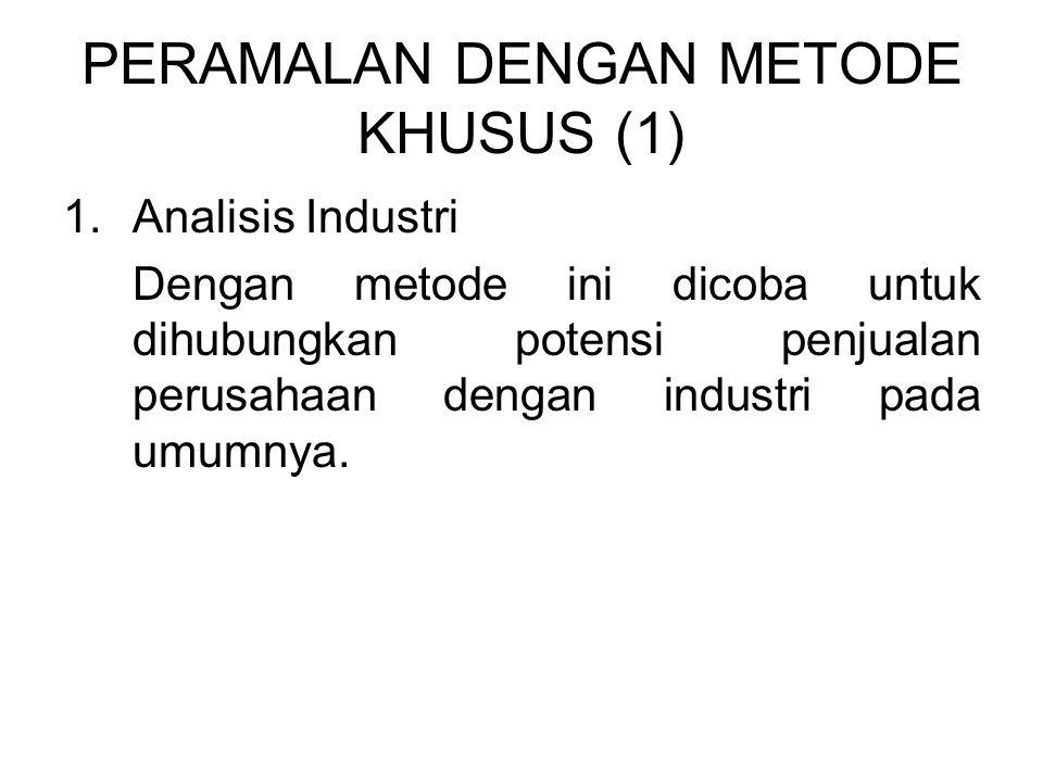 PERAMALAN DENGAN METODE KHUSUS (1) 1.Analisis Industri Dengan metode ini dicoba untuk dihubungkan potensi penjualan perusahaan dengan industri pada umumnya.