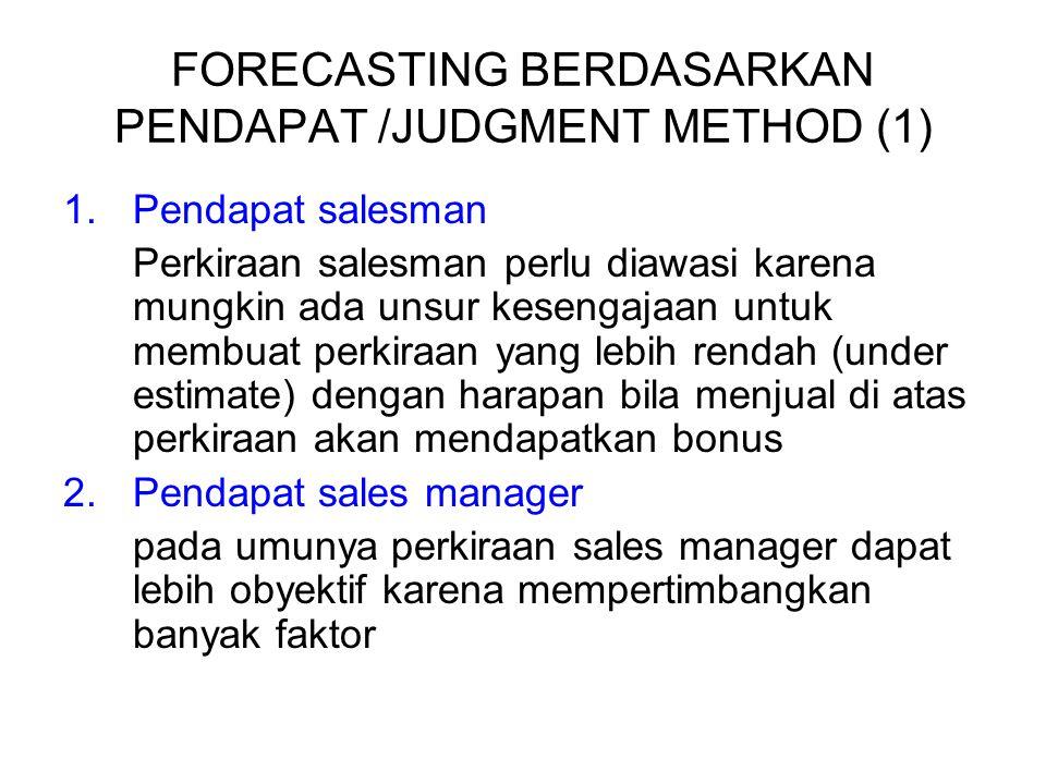 FORECASTING BERDASARKAN PENDAPAT /JUDGMENT METHOD (1) 1.Pendapat salesman Perkiraan salesman perlu diawasi karena mungkin ada unsur kesengajaan untuk