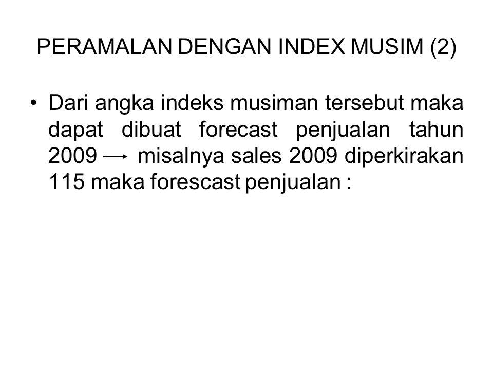 PERAMALAN DENGAN INDEX MUSIM (2) Dari angka indeks musiman tersebut maka dapat dibuat forecast penjualan tahun 2009 misalnya sales 2009 diperkirakan 1