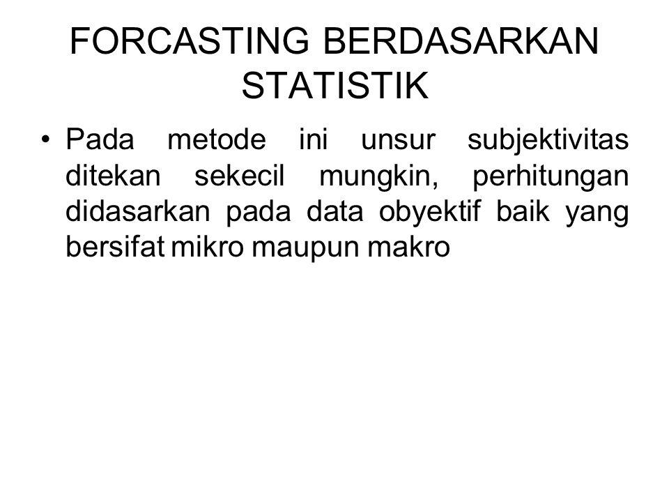 FORCASTING BERDASARKAN STATISTIK Pada metode ini unsur subjektivitas ditekan sekecil mungkin, perhitungan didasarkan pada data obyektif baik yang bers