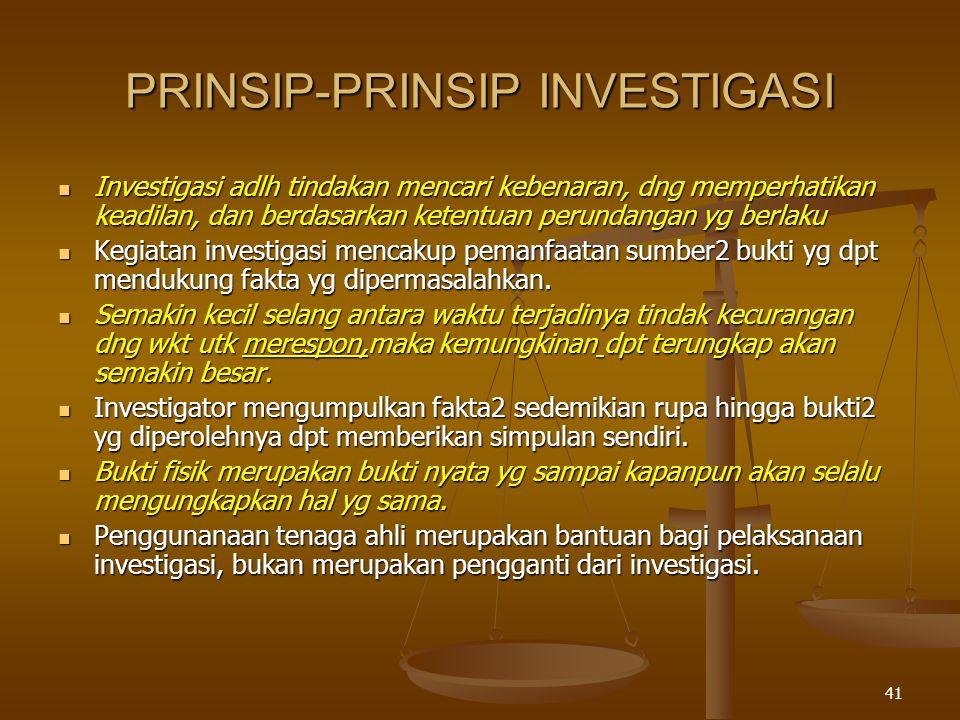 40 ALUR PIKIR AUDIT INVESTIGATIF PENGERTIAN KARAKTERISTIK FRAUD AKSIOMA AUDIT INVESTIGATIF PRINSIP DAN PENDEKATAN TAHAP-TAHAP AUDIT INVESTIGATIF (PROSES AUDIT INVESTIGATIF) SUMBER INFORMASI PRA PERENCANAAN TELAAH KEPUTUSAN PENANGANAN PERENCANAAN HIPOTESA AUDIT PROGRAM RENCANA SUMBER DAYA (SMEAC) PENUGASAN PENGUMPULAN BUKTI TEKNIK PENGUMPULAN BUKTI EVALUASI BUKTI ANALISA BUKTI REVISI HIPOTESA UNSUR DELIK PELA PORAN TINDAK LANJUT PRINSIP PELA PORAN FORMAT SUBS TANSI KETER AHLI KERUGIAN KEUANGAN