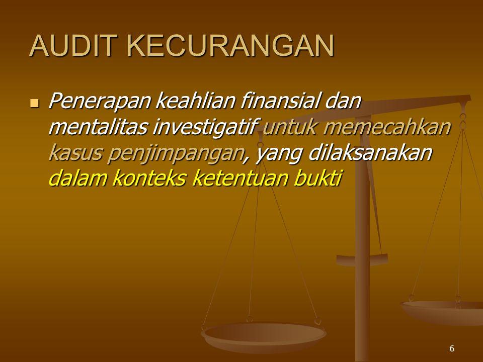 5 AUDIT KEPATUHAN Mencakup penghimpuanan dan pengevaluasian bukti dengan tujuan untuk menentukan apakah kegiatan finansial maupun operasi tertentu dari suatu entitas sesuai dengan kondisi- kondisi, aturan-aturan,dan regulasi yang telah ditentukan Mencakup penghimpuanan dan pengevaluasian bukti dengan tujuan untuk menentukan apakah kegiatan finansial maupun operasi tertentu dari suatu entitas sesuai dengan kondisi- kondisi, aturan-aturan,dan regulasi yang telah ditentukan