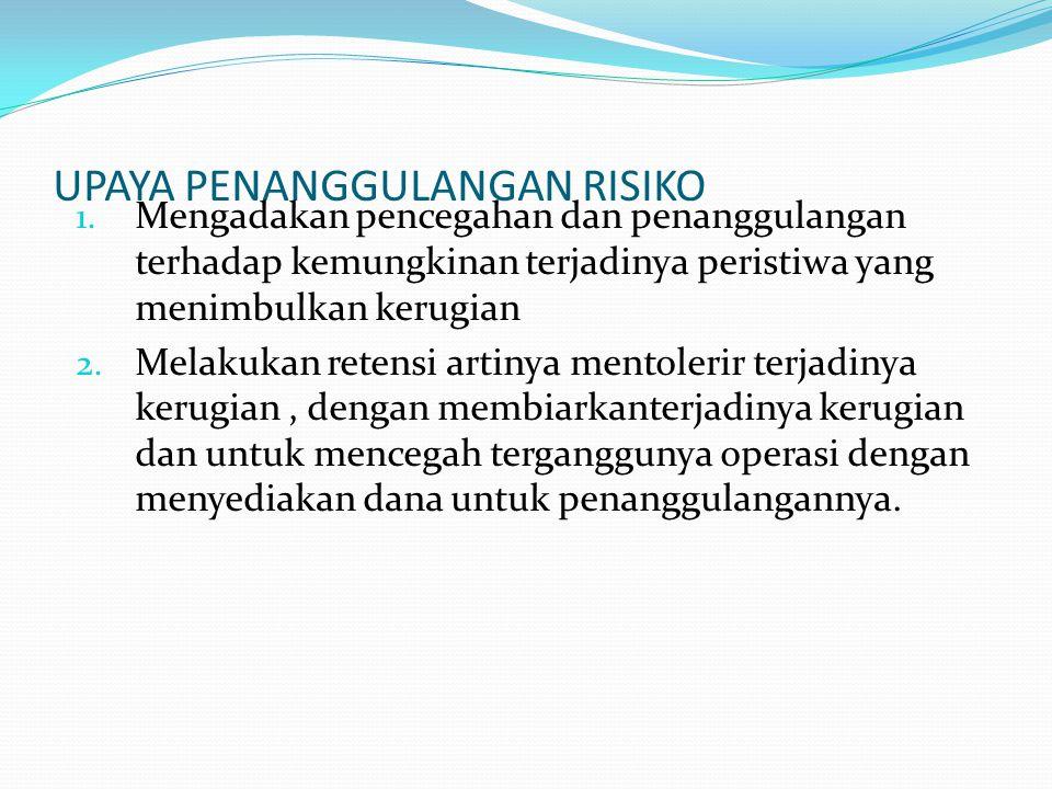 UPAYA PENANGGULANGAN RISIKO 1. Mengadakan pencegahan dan penanggulangan terhadap kemungkinan terjadinya peristiwa yang menimbulkan kerugian 2. Melakuk
