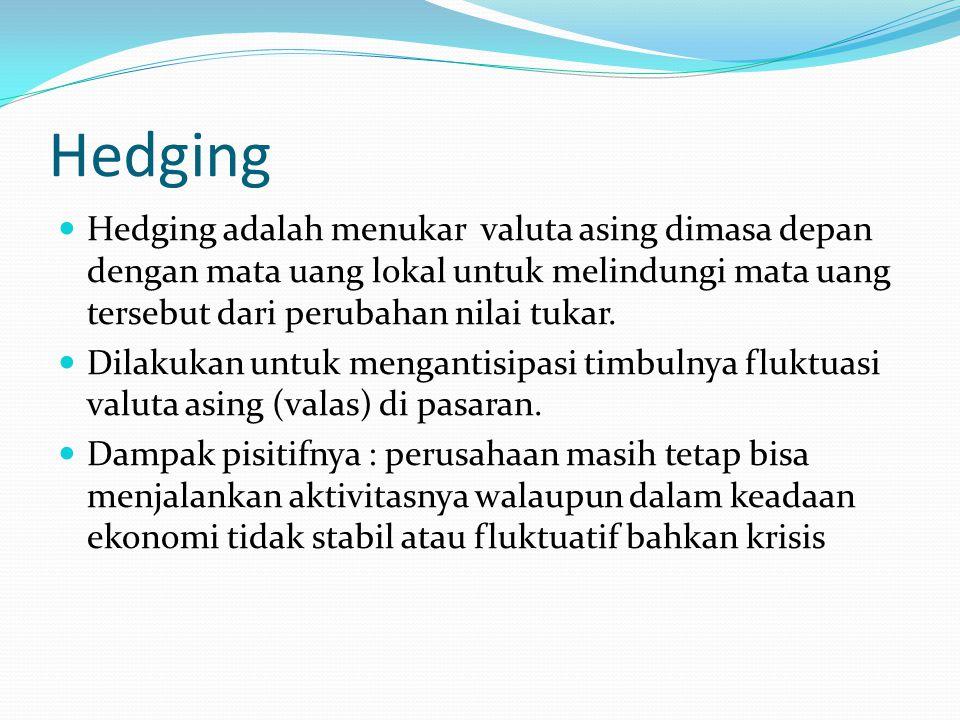 Hedging Hedging adalah menukar valuta asing dimasa depan dengan mata uang lokal untuk melindungi mata uang tersebut dari perubahan nilai tukar. Dilaku