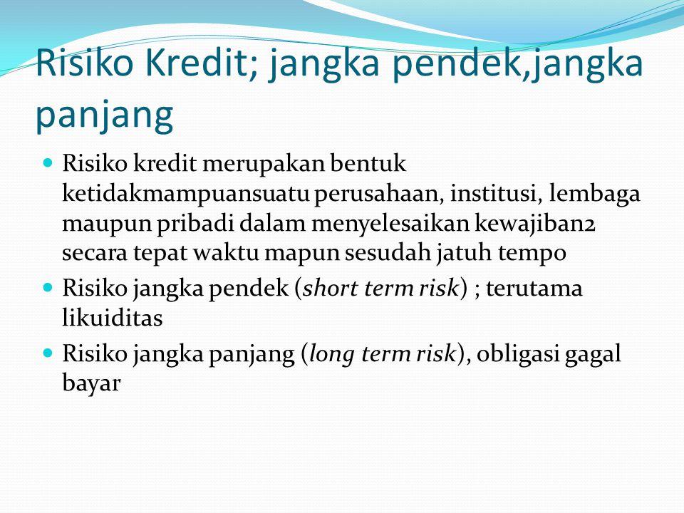 Risiko Kredit; jangka pendek,jangka panjang Risiko kredit merupakan bentuk ketidakmampuansuatu perusahaan, institusi, lembaga maupun pribadi dalam men