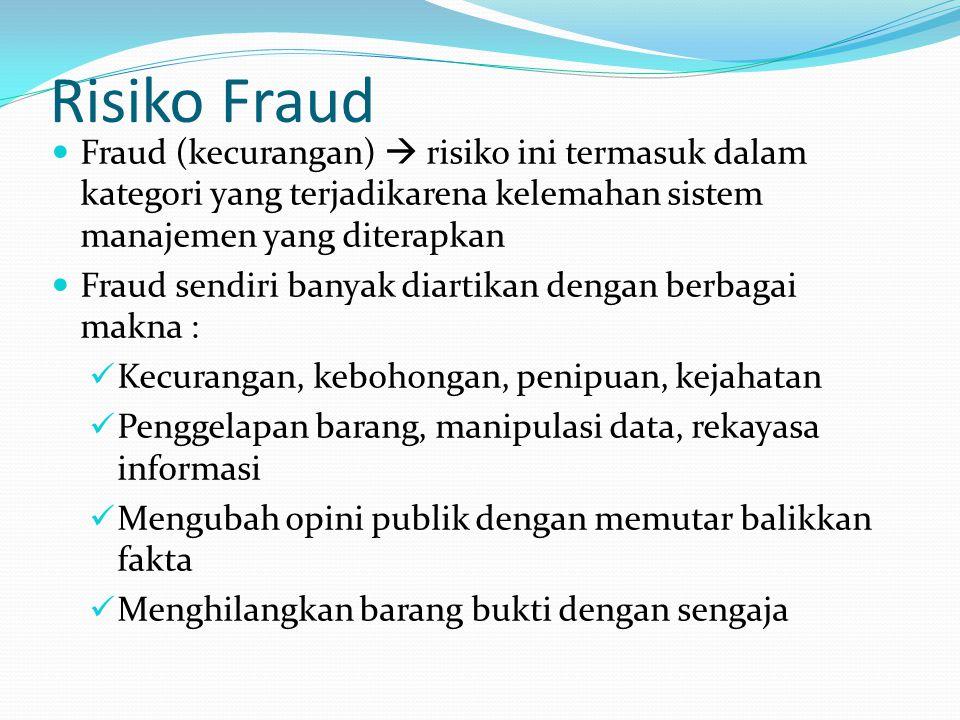 Risiko Fraud Fraud (kecurangan)  risiko ini termasuk dalam kategori yang terjadikarena kelemahan sistem manajemen yang diterapkan Fraud sendiri banya