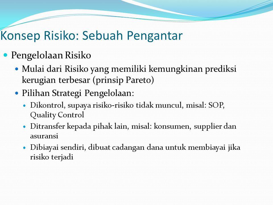 Konsep Risiko: Sebuah Pengantar Pengelolaan Risiko Mulai dari Risiko yang memiliki kemungkinan prediksi kerugian terbesar (prinsip Pareto) Pilihan Str