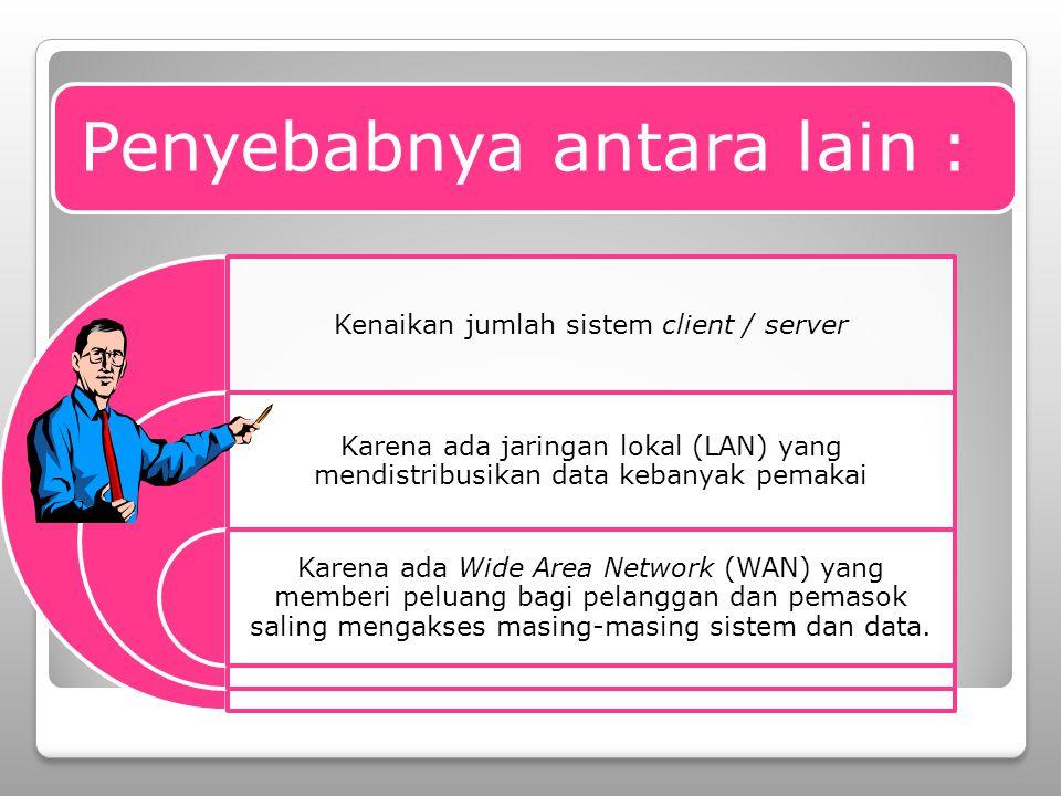 Penyebabnya antara lain : Kenaikan jumlah sistem client / server Karena ada jaringan lokal (LAN) yang mendistribusikan data kebanyak pemakai Karena ada Wide Area Network (WAN) yang memberi peluang bagi pelanggan dan pemasok saling mengakses masing-masing sistem dan data.