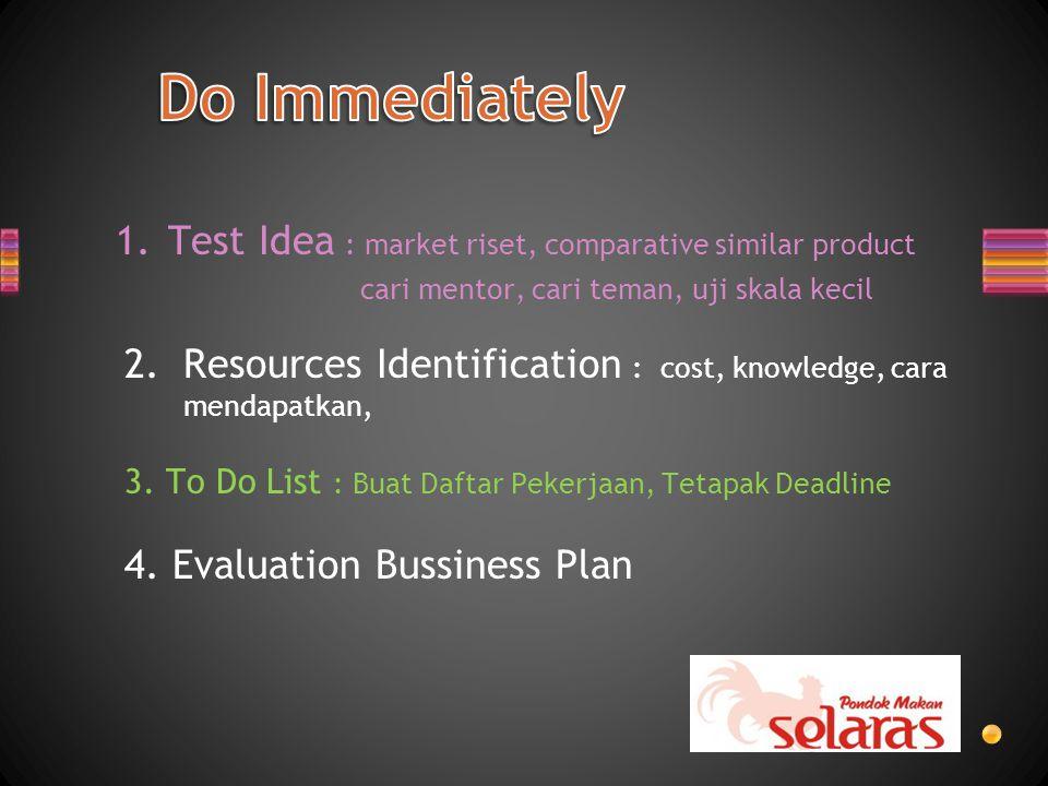 1.Test Idea : market riset, comparative similar product cari mentor, cari teman, uji skala kecil 2.Resources Identification : cost, knowledge, cara mendapatkan, 3.