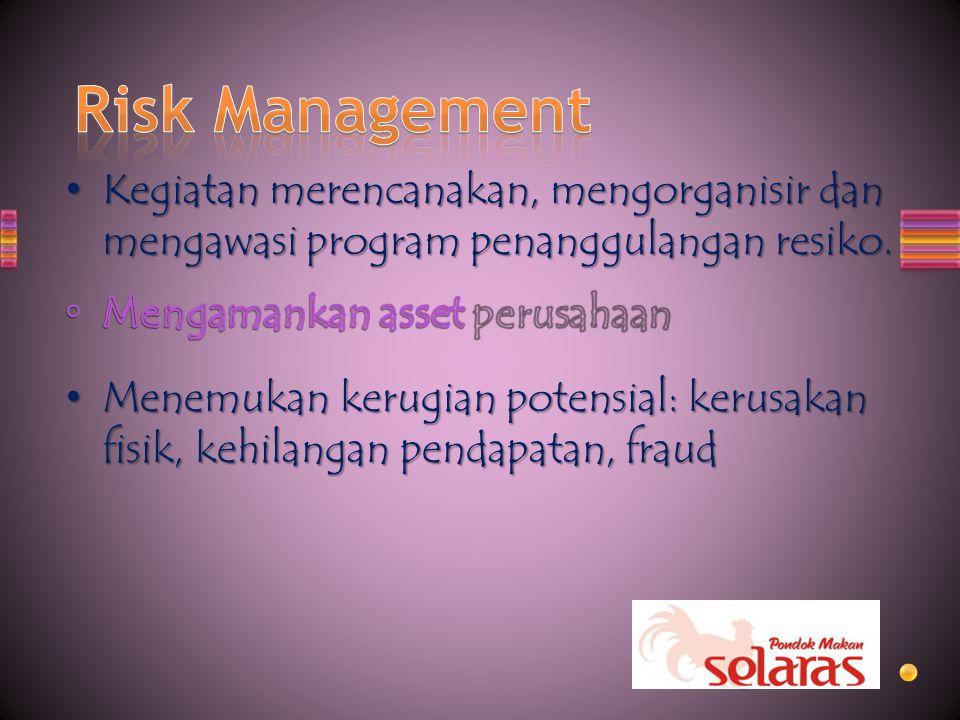 Kegiatan merencanakan, mengorganisir dan mengawasi program penanggulangan resiko. Kegiatan merencanakan, mengorganisir dan mengawasi program penanggul
