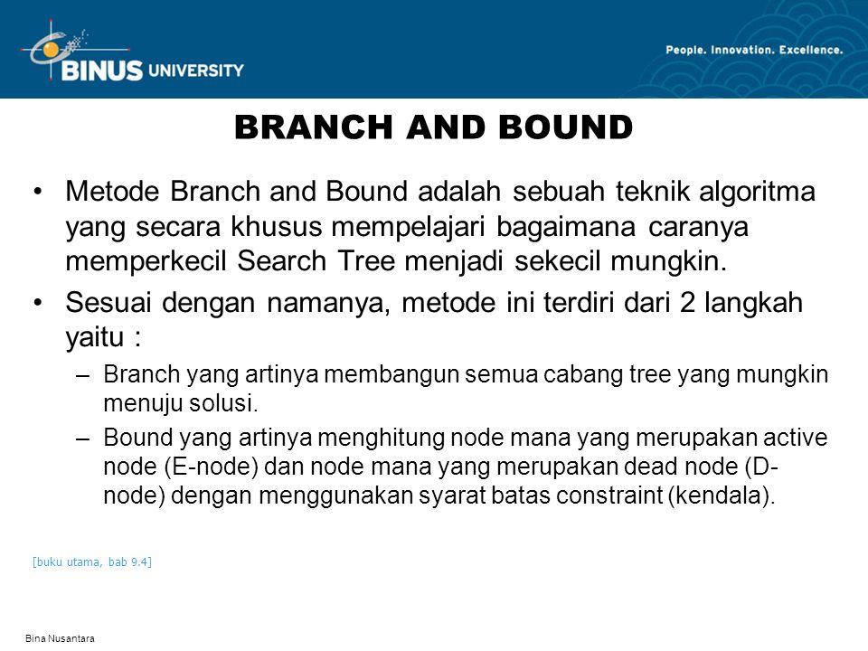 Bina Nusantara TEKNIK BRANCH AND BOUND FIFO Branch and Bound –Adalah teknik Branch and Bound yang menggunakan bantuan queue untuk perhitungan Branch and Bound secara First In First Out.
