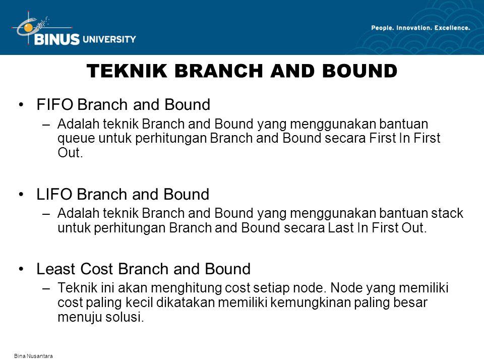 Bina Nusantara TEKNIK BRANCH AND BOUND FIFO Branch and Bound –Adalah teknik Branch and Bound yang menggunakan bantuan queue untuk perhitungan Branch a