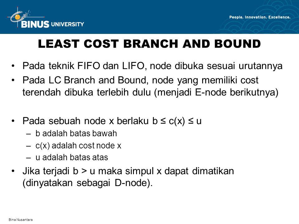 Bina Nusantara LEAST COST BRANCH AND BOUND Pada teknik FIFO dan LIFO, node dibuka sesuai urutannya Pada LC Branch and Bound, node yang memiliki cost t