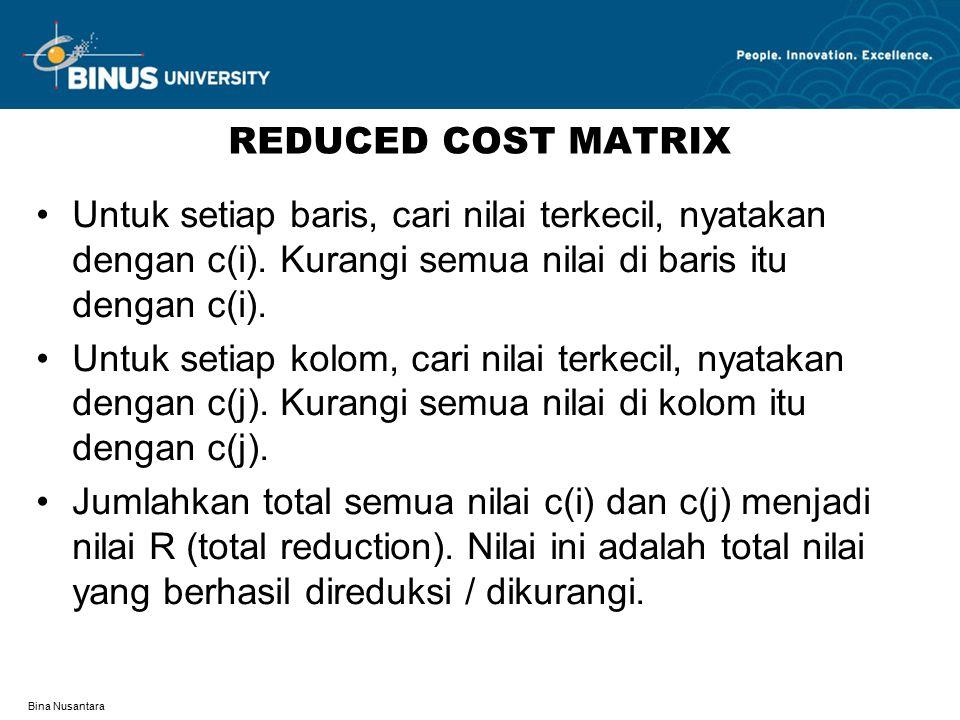 Bina Nusantara REDUCED COST MATRIX Untuk setiap baris, cari nilai terkecil, nyatakan dengan c(i). Kurangi semua nilai di baris itu dengan c(i). Untuk