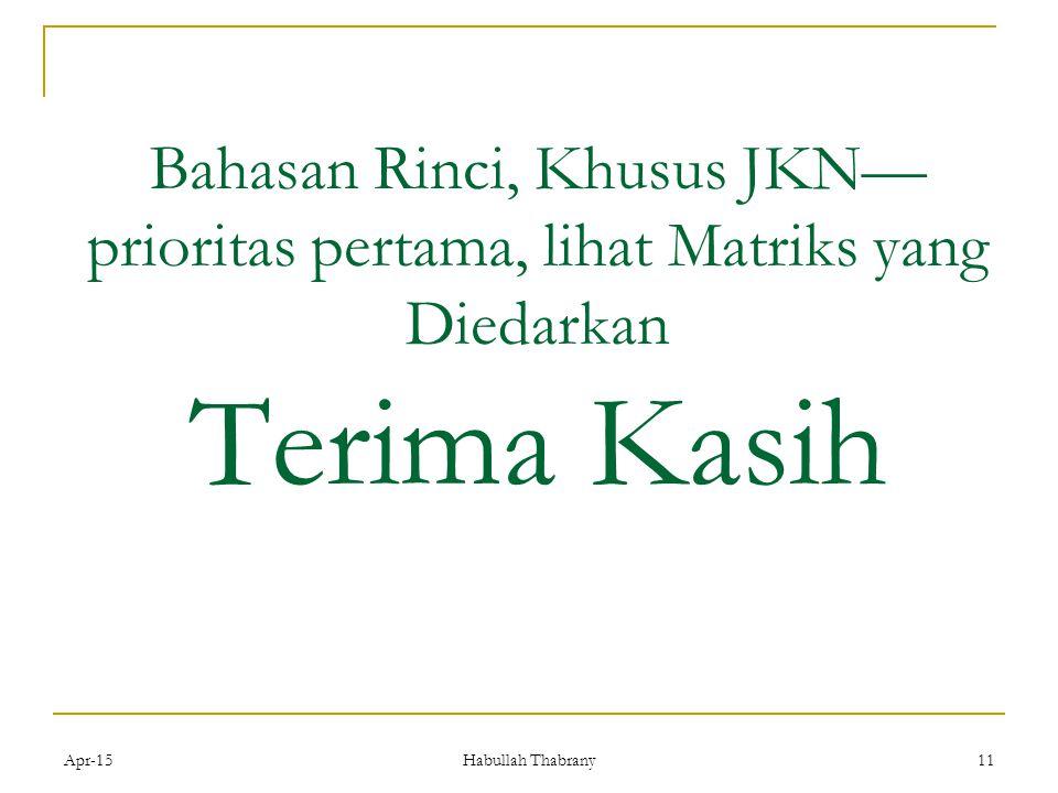 Apr-1511 Bahasan Rinci, Khusus JKN— prioritas pertama, lihat Matriks yang Diedarkan Terima Kasih Habullah Thabrany