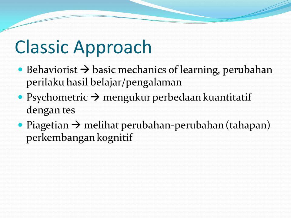 Behaviorist Approach Classical Conditioning  belajar berdasarkan asosiasi stimulus yang tidak mendatangkan respon dan yang mendatangkan respon (UCS dan CS) Operant Conditioning  reinforcement dan punishment