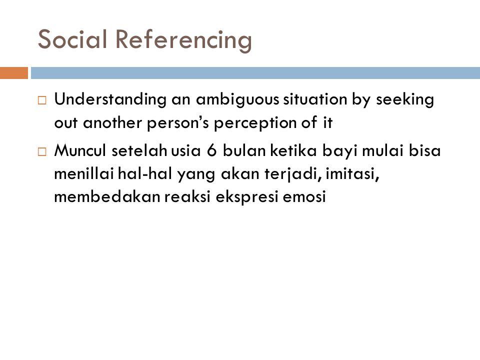 Social Referencing  Understanding an ambiguous situation by seeking out another person's perception of it  Muncul setelah usia 6 bulan ketika bayi mulai bisa menillai hal-hal yang akan terjadi, imitasi, membedakan reaksi ekspresi emosi