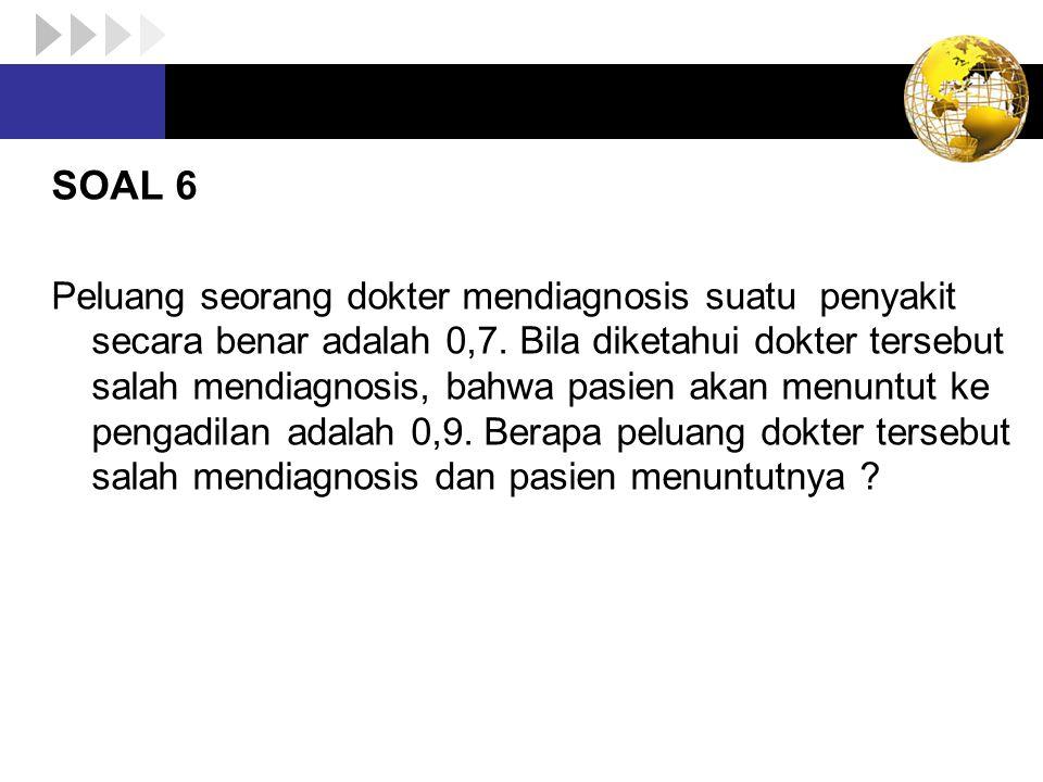 SOAL 6 Peluang seorang dokter mendiagnosis suatu penyakit secara benar adalah 0,7. Bila diketahui dokter tersebut salah mendiagnosis, bahwa pasien aka