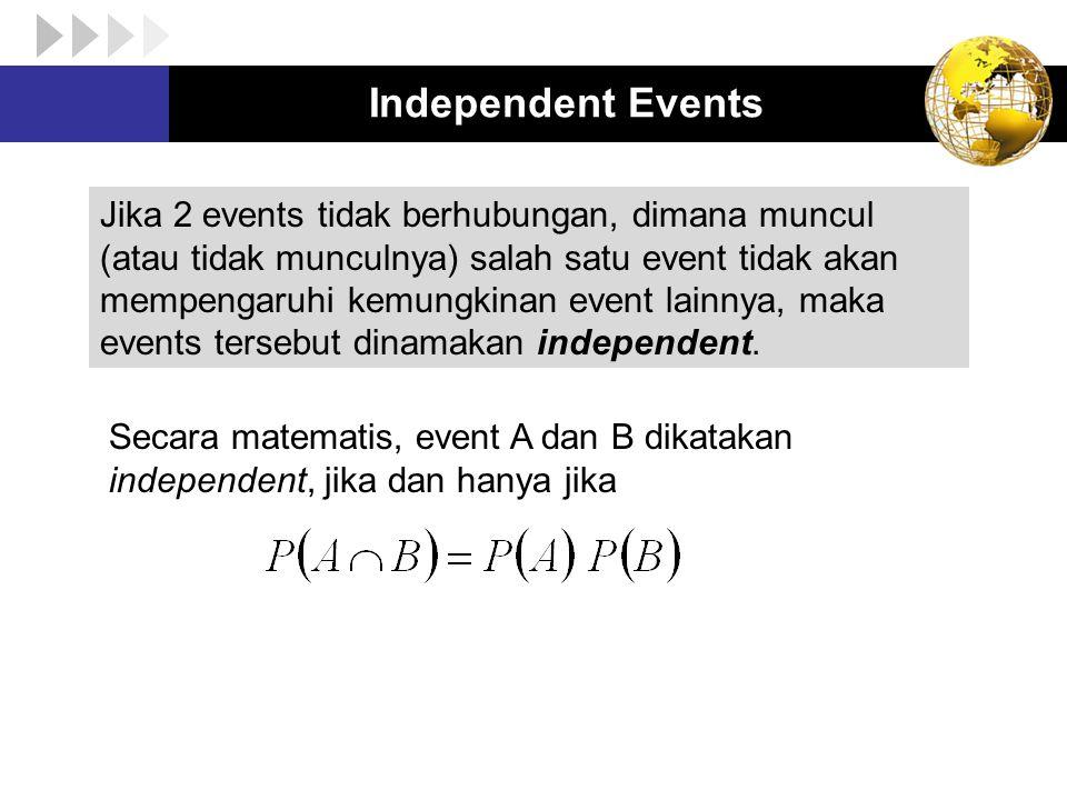 Independent Events Jika 2 events tidak berhubungan, dimana muncul (atau tidak munculnya) salah satu event tidak akan mempengaruhi kemungkinan event la
