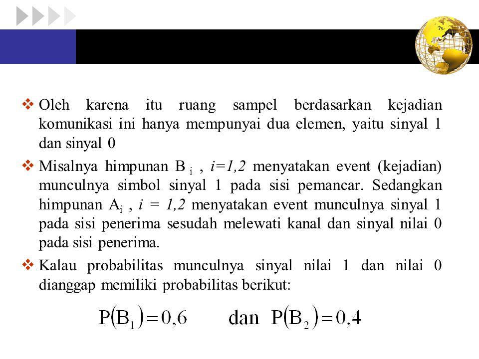 Oleh karena itu ruang sampel berdasarkan kejadian komunikasi ini hanya mempunyai dua elemen, yaitu sinyal 1 dan sinyal 0  Misalnya himpunan B i, i=