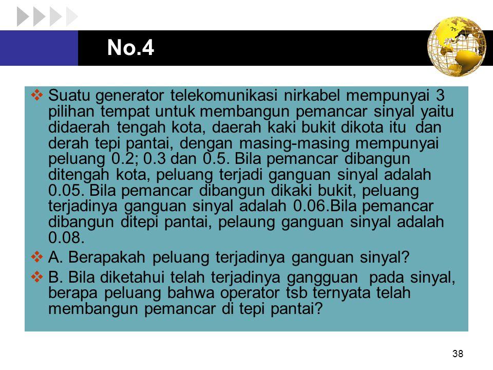 No.4 38  Suatu generator telekomunikasi nirkabel mempunyai 3 pilihan tempat untuk membangun pemancar sinyal yaitu didaerah tengah kota, daerah kaki b