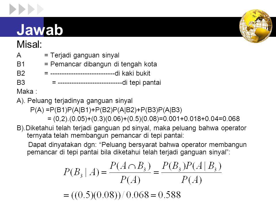 Jawab Misal: A= Terjadi ganguan sinyal B1= Pemancar dibangun di tengah kota B2= ----------------------------di kaki bukit B3 = -----------------------