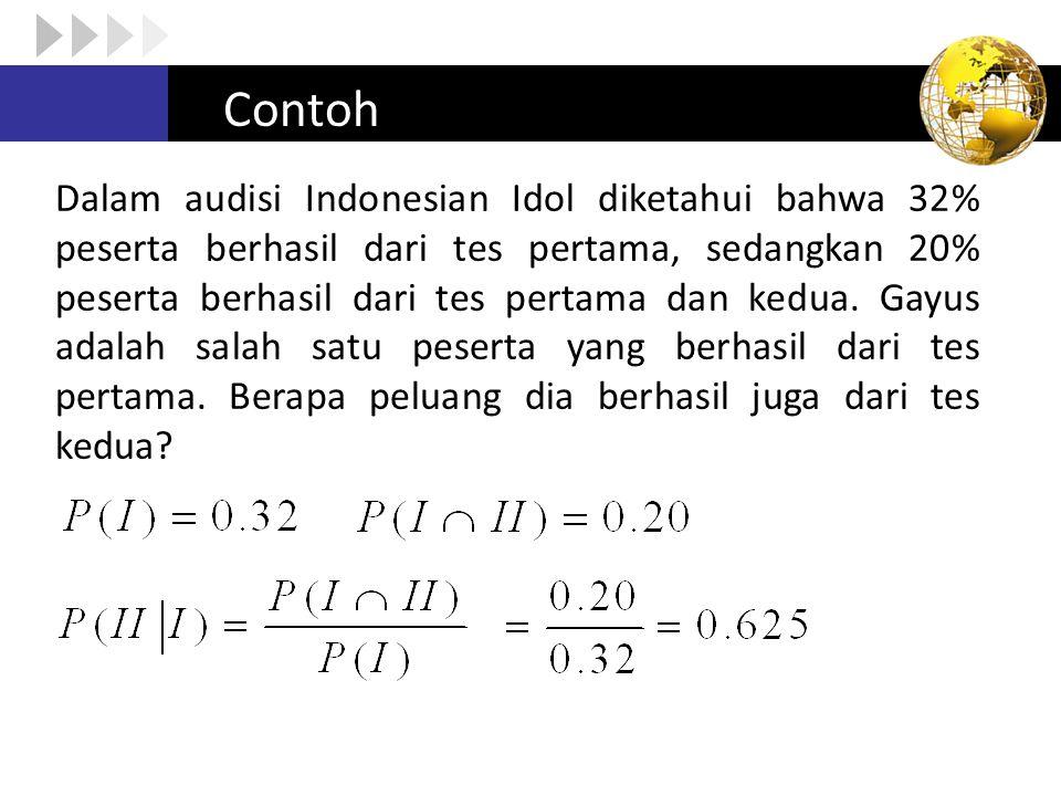 Contoh Dalam audisi Indonesian Idol diketahui bahwa 32% peserta berhasil dari tes pertama, sedangkan 20% peserta berhasil dari tes pertama dan kedua.