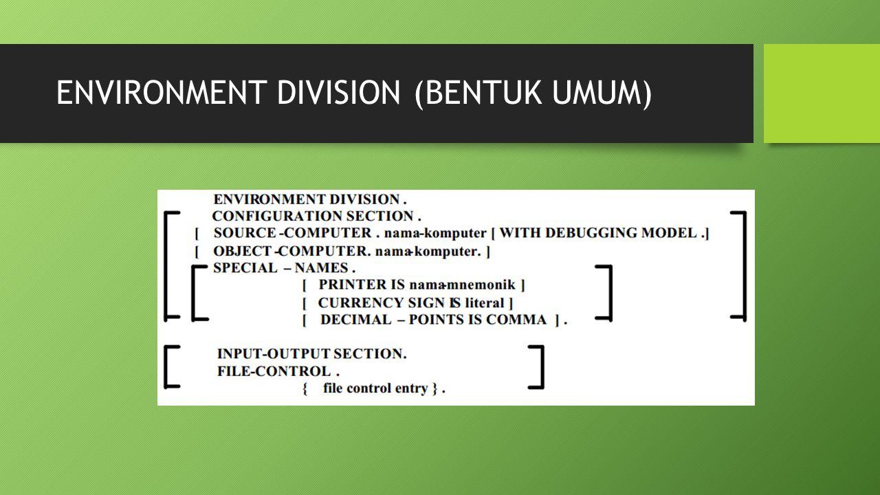 DATA DIVISION (TUJUAN) Divisi ini memberikan penjelasan tentang input data dan output yang dipergunakan.