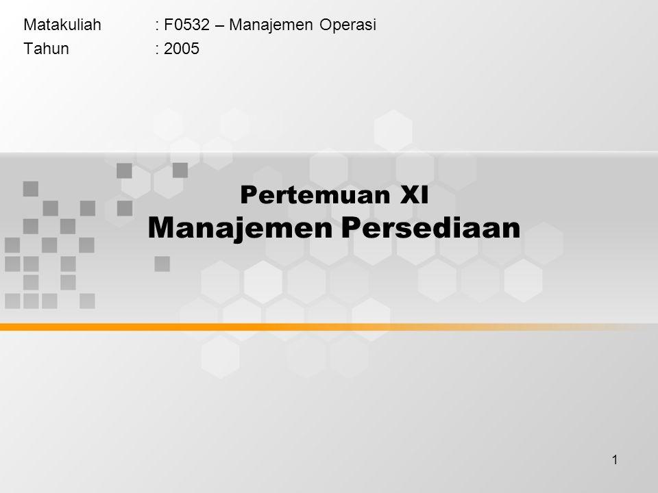 1 Pertemuan XI Manajemen Persediaan Matakuliah: F0532 – Manajemen Operasi Tahun: 2005