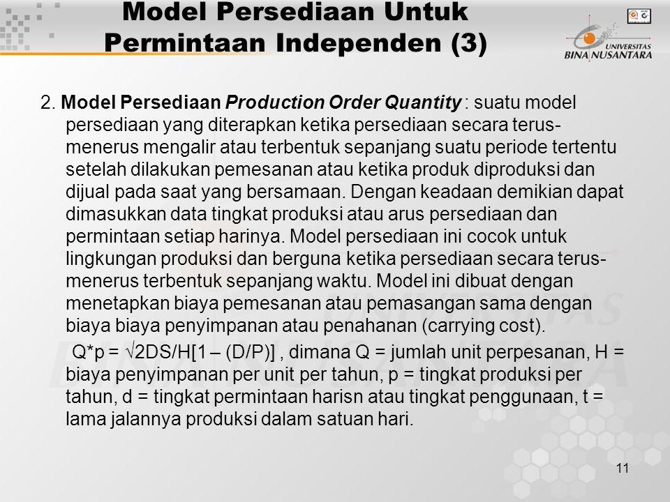 11 Model Persediaan Untuk Permintaan Independen (3) 2. Model Persediaan Production Order Quantity : suatu model persediaan yang diterapkan ketika pers