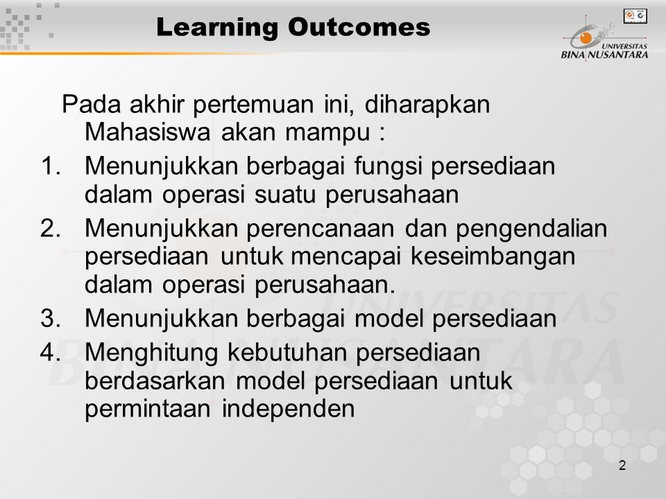 2 Learning Outcomes Pada akhir pertemuan ini, diharapkan Mahasiswa akan mampu : 1.Menunjukkan berbagai fungsi persediaan dalam operasi suatu perusahaa