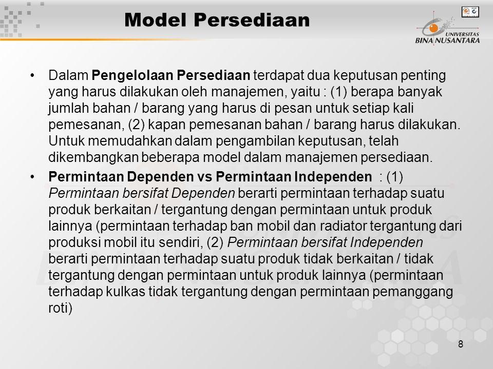 9 Model Persediaan Untuk Permintaan Independen (1) Model Persediaan untuk Produk yang Permintaannya bersifat Independen : mengasumsikan bahwa permintaan untuk satu produk tidak berkaitan dengan permintaan untuk produk lainnya Biaya-Biaya dalam Persediaan : (1) Biaya Pemesanan (Ordering Cost) yaitu biaya-biaya yang dikeluarkan sehubungan dengan pemesanan bahan/barang seperti biaya pasokan, formulir/administrasi, pemrosesan pesanan, biaya angkutan, bongkar muat.