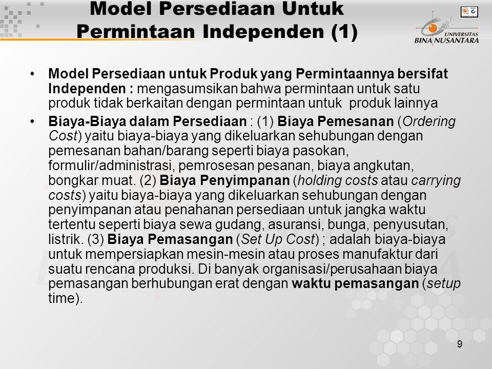 10 Model Persediaan Untuk Permintaan Independen (2) Model-Model Persediaan untuk Permintaan Independen : (1) Model Economic Order Quantity (EOQ), (2) Model Production Order Quantity, (3) Model Quantity Discount.