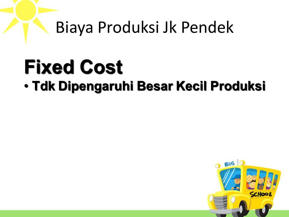 Fixed Cost Total fixed cost Average fixed cost = Total fixed cost Quantity Biaya Produksi jangka Pendek