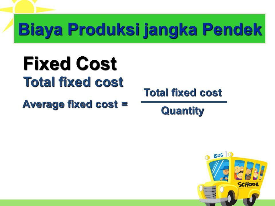 Fixed Cost Total fixed cost Variable Cost dipengaruhi besar kecil produksi dipengaruhi besar kecil produksi Average fixed cost = Total fixed cost Quantity Biaya Produksi Jk Pendek