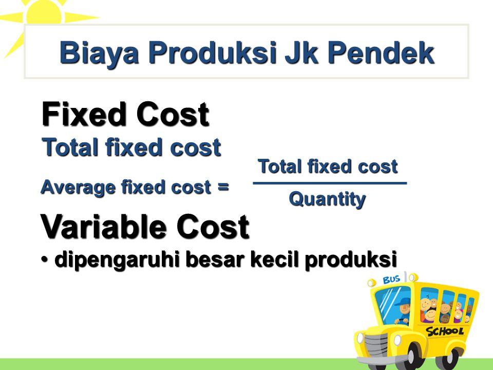 Fixed Cost Total fixed cost Variable Cost Average variable cost = Total variable cost Quantity Average fixed cost = Total fixed cost Quantity Total variable cost Biaya Produksi Jk Pendek