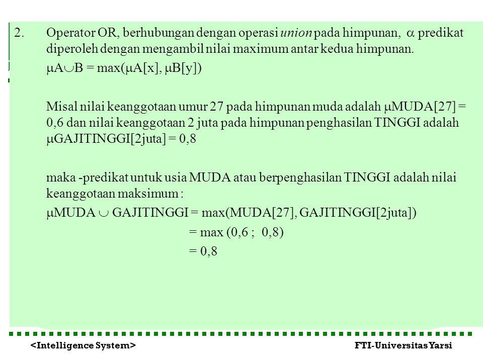FTI-Universitas Yarsi 2.Operator OR, berhubungan dengan operasi union pada himpunan,  predikat diperoleh dengan mengambil nilai maximum antar kedua h