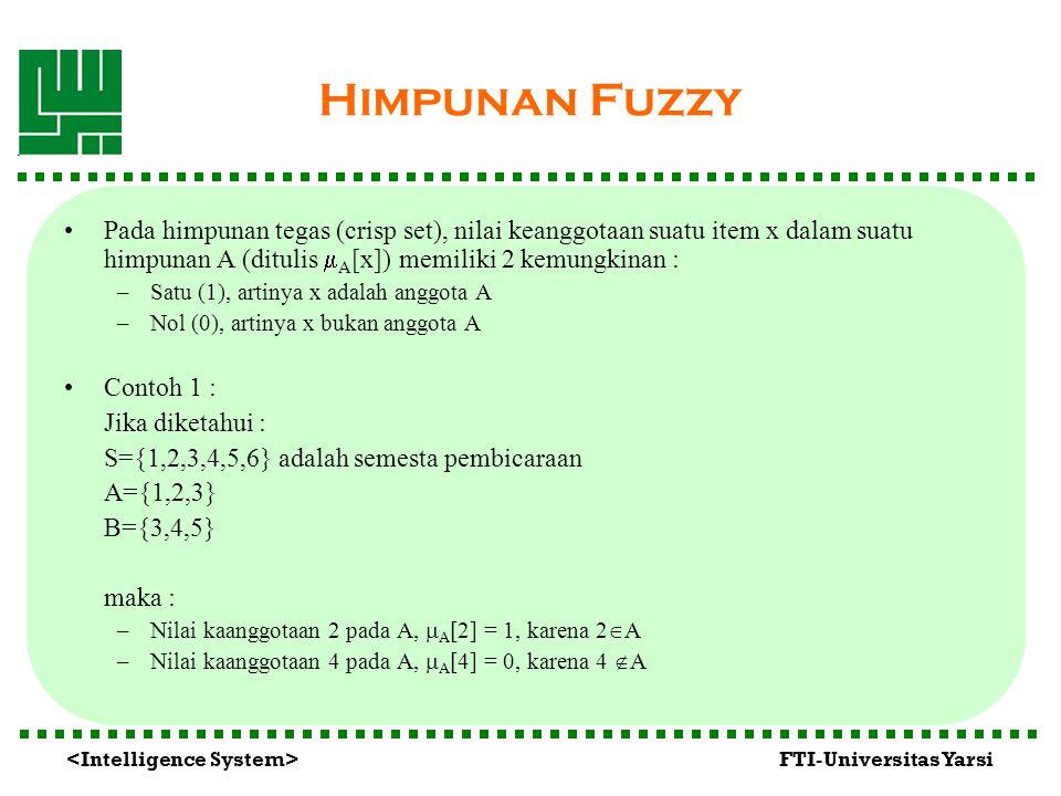 FTI-Universitas Yarsi Himpunan Fuzzy Pada himpunan tegas (crisp set), nilai keanggotaan suatu item x dalam suatu himpunan A (ditulis  A [x]) memiliki