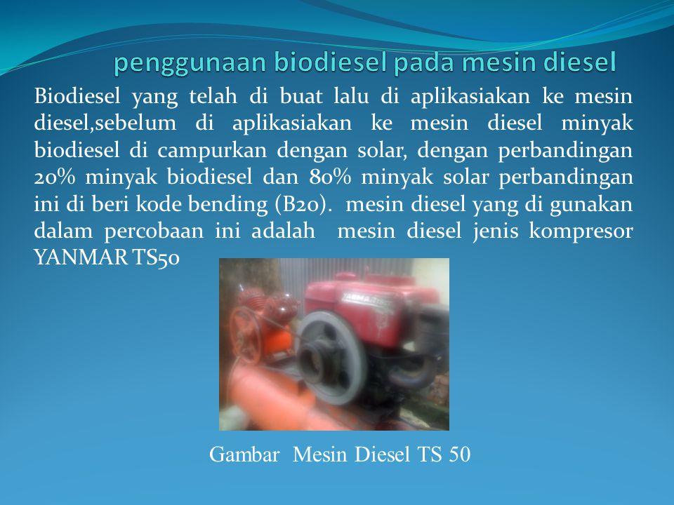 Biodiesel yang telah di buat lalu di aplikasiakan ke mesin diesel,sebelum di aplikasiakan ke mesin diesel minyak biodiesel di campurkan dengan solar, dengan perbandingan 20% minyak biodiesel dan 80% minyak solar perbandingan ini di beri kode bending (B20).